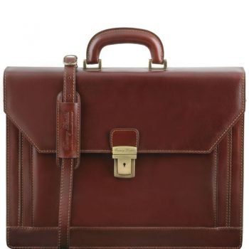 NAPOLI 2 compartments leather briefcase with front pocket