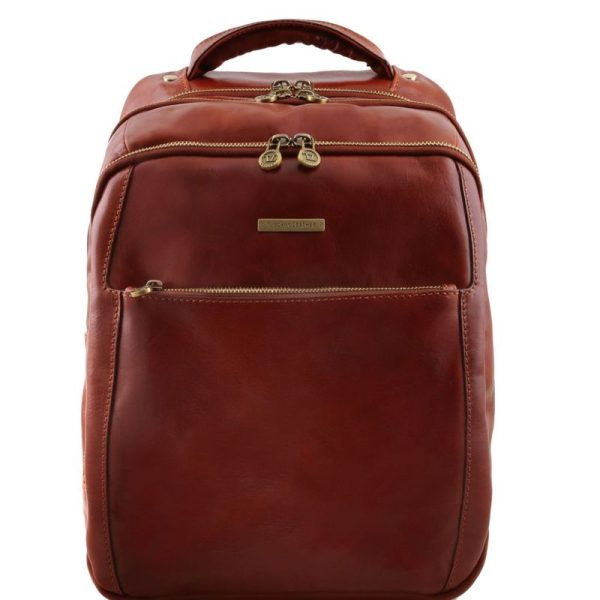 PHUKET 3 Compartments leather laptop backpack