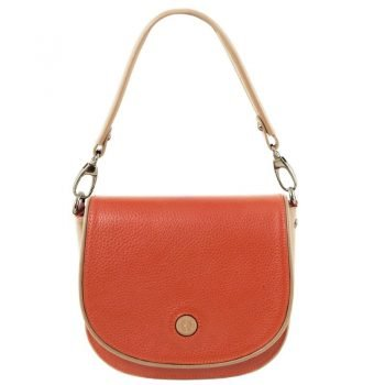 ROSA Leather clutch with shoulder strap
