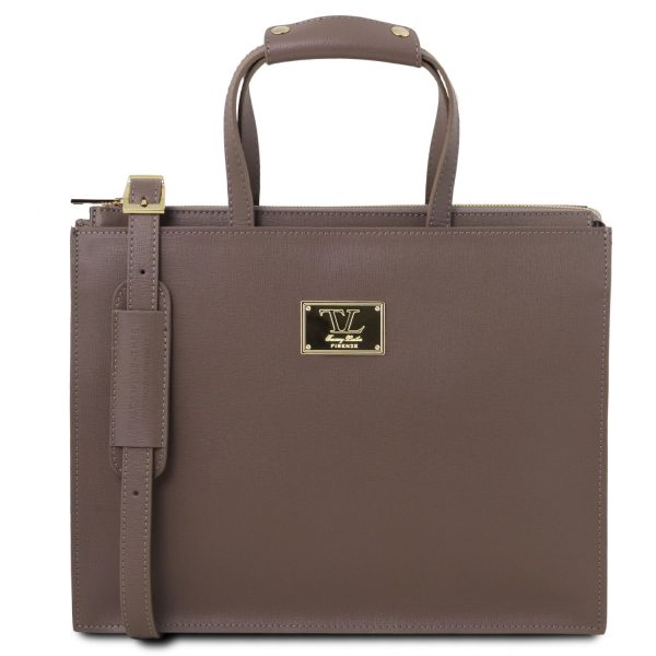 Saffiano Leather Briefcase with 3 Compartments for Women - Palermo