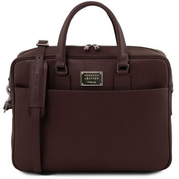 Saffiano Leather Laptop Briefcase with Front Pocket - Urbino