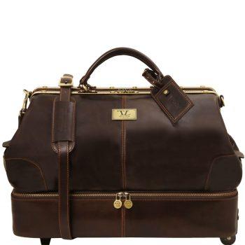 Siviglia Two Wheels Double-Bottom Gladstone Leather Bag