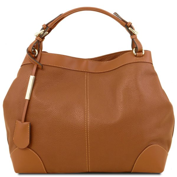 Soft Leather Bag with Shoulder Strap - Ambrosia