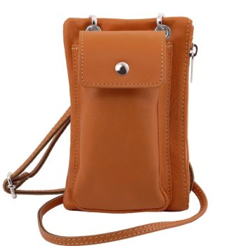 Soft Leather Cellphone Holder Mini Cross Bag - Fosseno