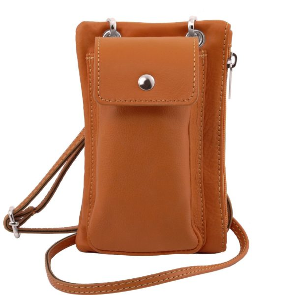 Soft Leather Cellphone Holder Mini Cross Bag - Fosseno
