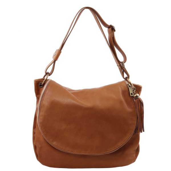 Soft Leather Shoulder Bag with Tassel Detail - Goult