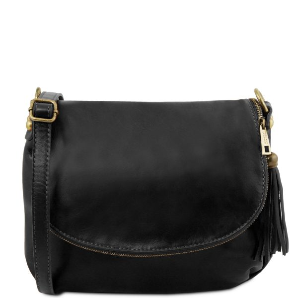 Soft Leather Shoulder Bag with Tassel Detail - Tavel
