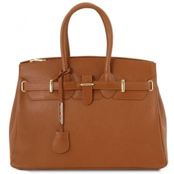 TL BAG Leather handbag with golden hardware