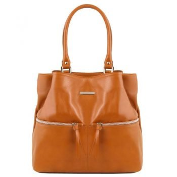 TL BAG Leather shoulder bag with front pockets
