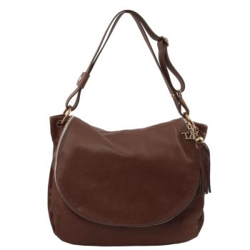 TL BAG Soft leather shoulder bag with tassel detail