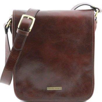 TL MESSENGER Two compartments leather shoulder bag