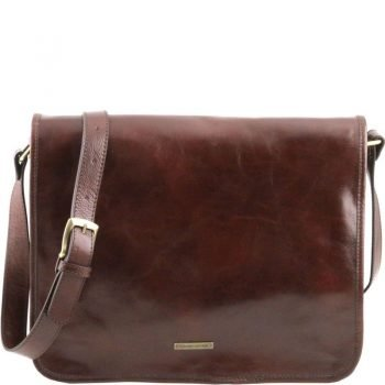 TL MESSENGER Two compartments leather shoulder bag - Large size