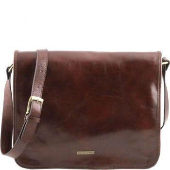 TL MESSENGER Two compartments leather shoulder bag - Large size