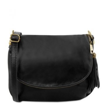 TL Soft Leather Shoulder Bag with Tassel Detail