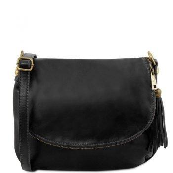 TL Soft Leather Shoulder Bag with Tassel Detail