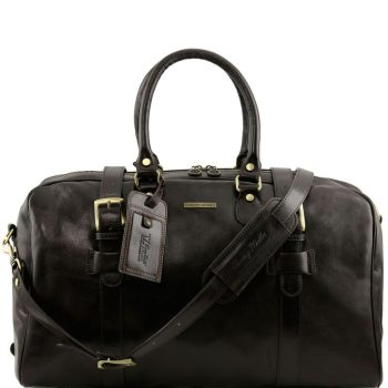 TL VOYAGER Leather travel bag with front straps - Large size