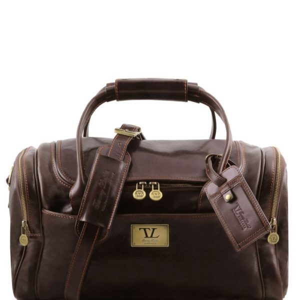 TL VOYAGER Travel leather bag with side pockets - Small size