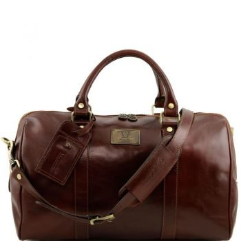 TL VOYAGER Travel leather duffle bag with pocket on the back side - Small size