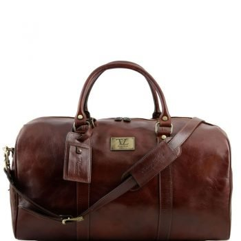 TL VOYAGER Travel leather duffle bag with pocket on the backside - Large size