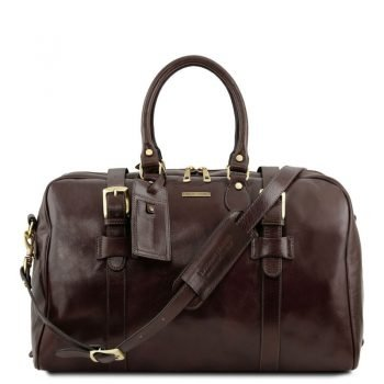 TL Voyager Leather Travel Bag with Front Straps - Small Size