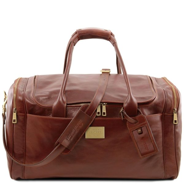 Travel Leather Bag with Side Pockets - Large Size - Larnage