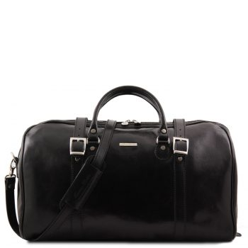 Travel Leather Duffle Bag with Front Straps - Large Size - Berlin
