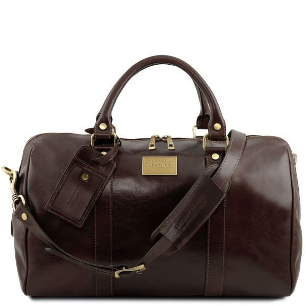 Travel Leather Duffle Bag with Pocket on The Back Side - Small Size - Lemps
