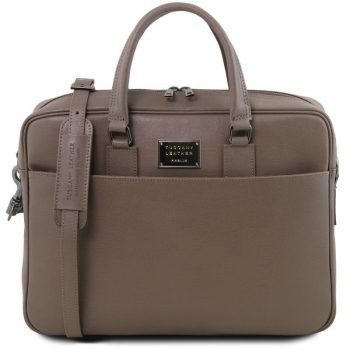 URBINO Saffiano leather laptop briefcase with front pocke