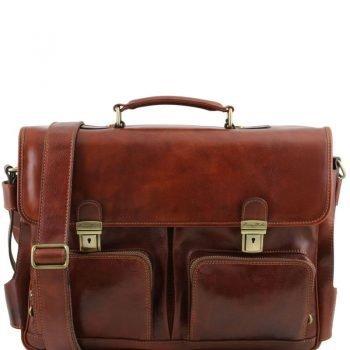 VENTIMIGLIA Leather multi compartment TL SMART briefcase with front pockets