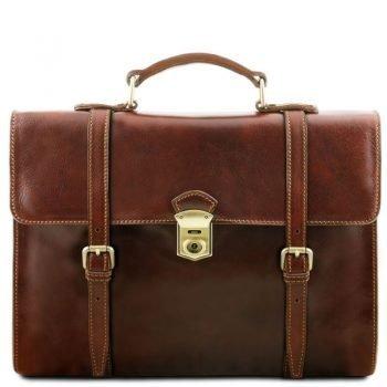 VIAREGGIO Exclusive leather laptop case with 3 compartments