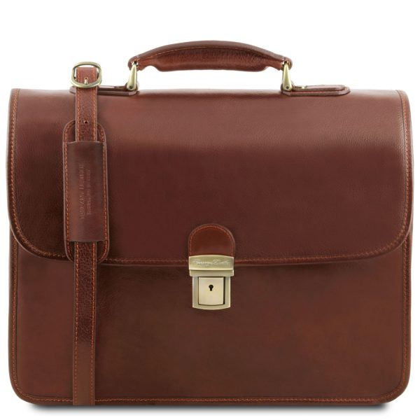 Vernazza Leather Briefcase with Laptop Compartment 3 Compartments