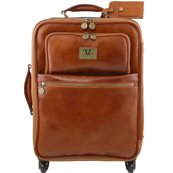 Vertical Leather Trolley With 4 Wheels - Voyager