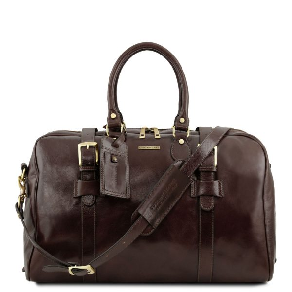 Voyager Leather Travel Bag with Front Straps - Small Size - Albon