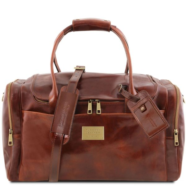 Voyager Travel Leather Bag with Side Pockets - Bren