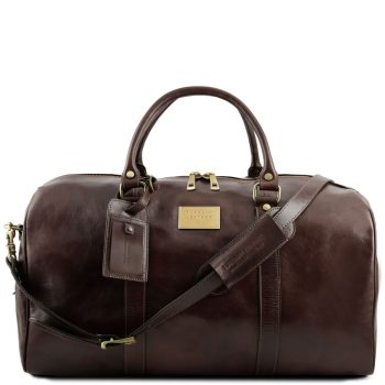 Voyager Travel Leather Duffle Bag with Pocket on the Backside - Large Size - Andance