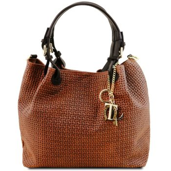 Woven Printed Leather Shopping Bag - Lucky