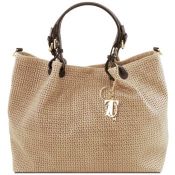 Woven Printed Leather Smart Shopping Bag - Large Size - Lafare