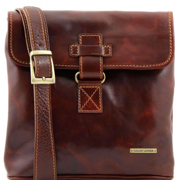 brown ANDREA Leather Crossbody Bag