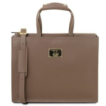 dark taupe PALERMO Saffiano Leather briefcase 3 compartments for woman