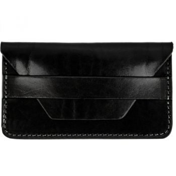 Black Leather Credit Card Holder Business Card Case - Lucky Jim