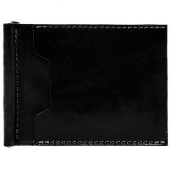 Black Leather Money Clip Wallet - Tom Jones
