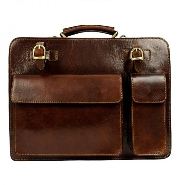Brown Genuine Leather Briefcase Work bag - The Prophet