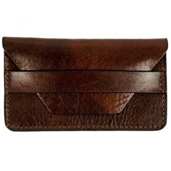 Dark Brown Leather Credit Card Holder Business Card Case - Lucky Jim