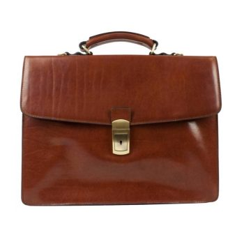 Medium Brown Genuine Leather Briefcase - Arthur