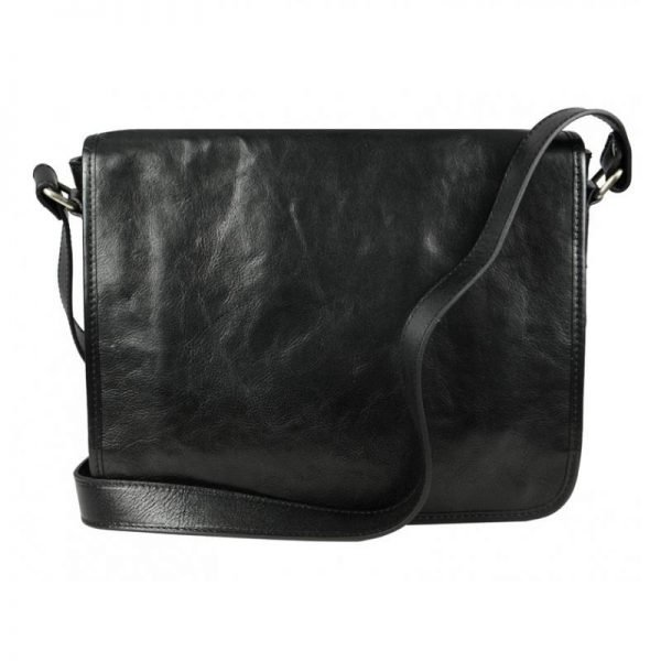 Mens Black Leather Messenger bag - The Stanger