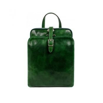 Womens Green Leather Backpack - Clarissa