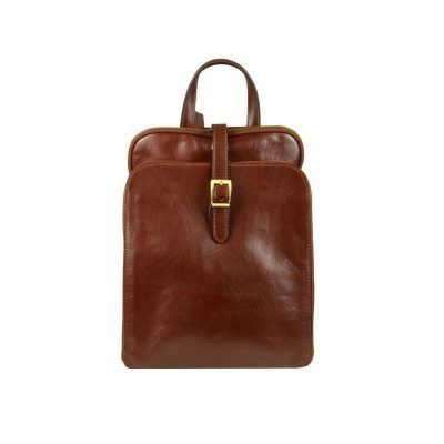 Women's Brown Leather Laptop Backpack