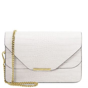 Croc Print Leather Clutch With Chain Strap - Hera