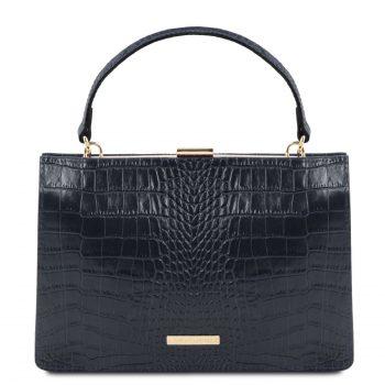 Croc Print Leather Handbag - Iris