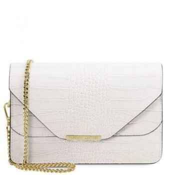 Croc print leather clutch with chain strap HERA